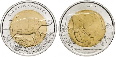 "Комплект из двух монет 1 лира ""Красная книга"" слон и черепаха 2009 год"