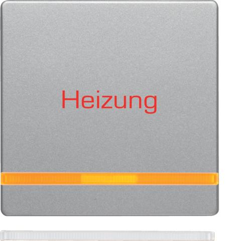 Клавиша с оранжевой линзой и оттиском «Heizung Notschalter». Цвет Алюминий. Berker (Беркер). Q.1 / Q.3 / Q.7. 16216064