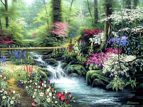 Картина раскраска по номерам 50x65 Водопад между цветов
