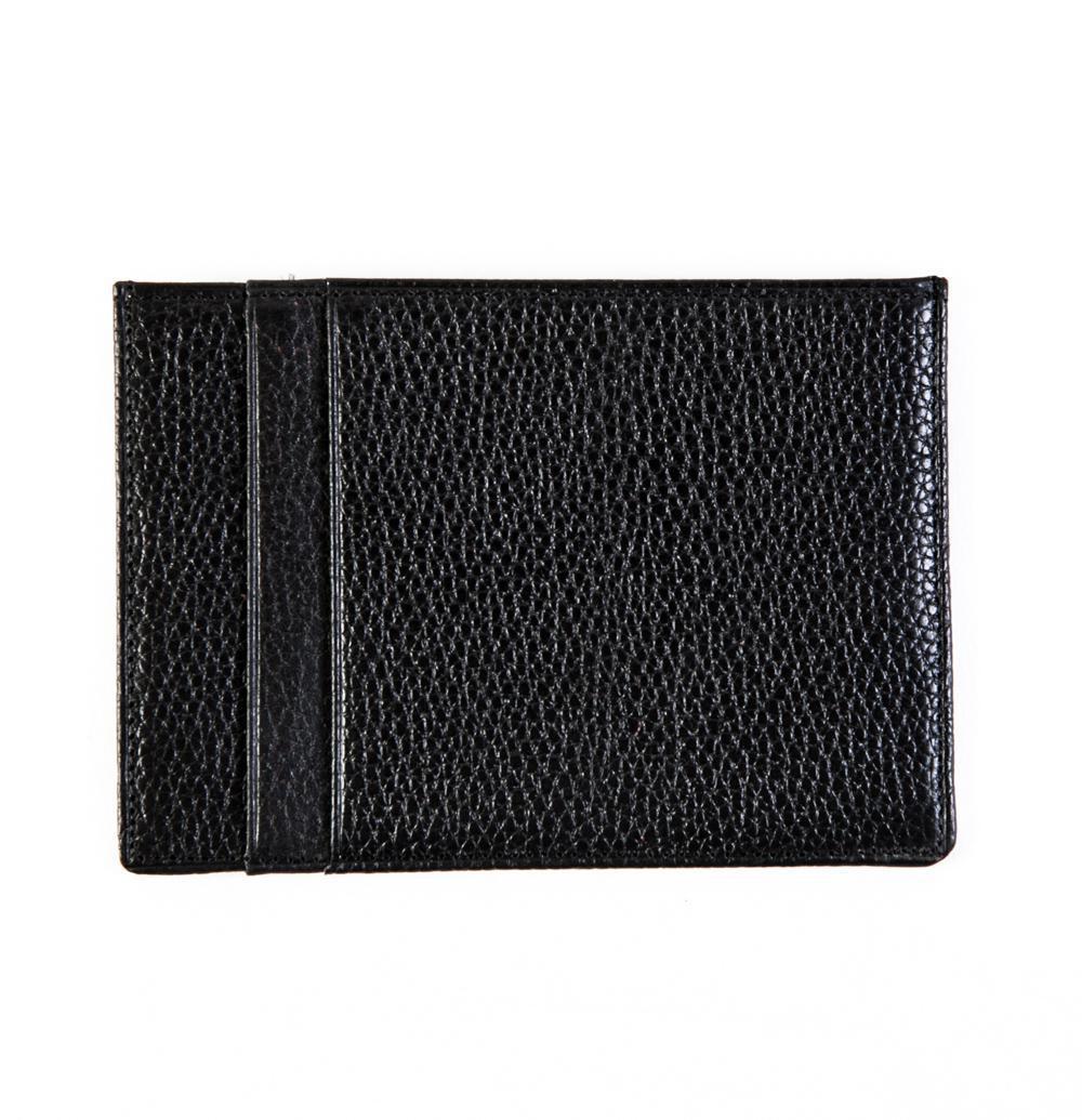 Маленький мужской чёрный кошелёк-карточница (картхолдер) с отделением для техпаспорта из натуральной кожи DoubleCity 120A-201801