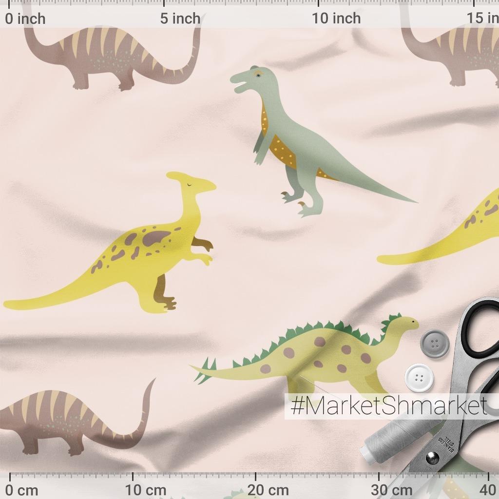 Милый минималистичный паттерн с динозаврами на розовом фоне