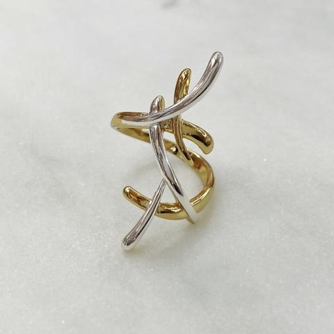 Кольцо Vi брызги серебро/золото