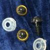 Глаз винтовой для игрушки 10 мм, (бежево-черный) пластиковый с заглушкой (2 шт)
