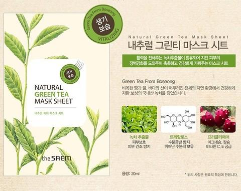 Маска тканевая с экстрактом зеленого чая The Saem Natural Green Tea Mask Sheet