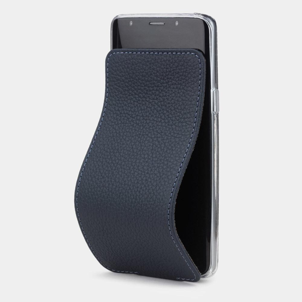 Чехол для Samsung Galaxy S9 из натуральной кожи теленка, цвета синий мат
