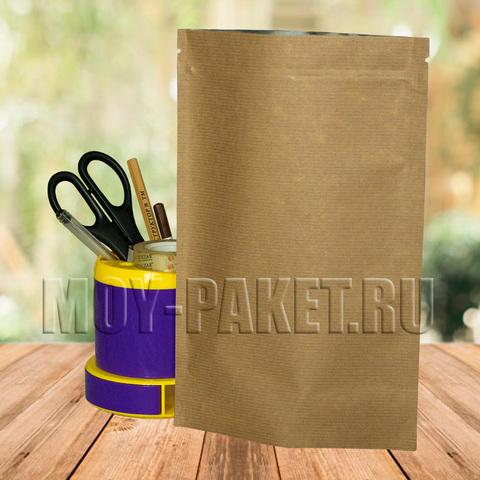 Крафт пакет дой-пак с замком зип-лок металлизированный 170x270 мм