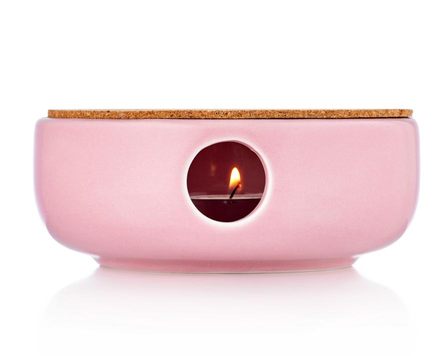 Керамические подставки Керамическая подставка для подогрева чайника свечой с пробковым диском розового цвета podstavka-ceramik-pink.PNG