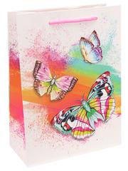 Пакет подарочный с мат. лам. Прекрасные бабочки 26х32х10 см (L).