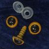 Глаз винтовой для игрушки 10 мм, (желто-черный) пластиковый с заглушкой (2 шт)