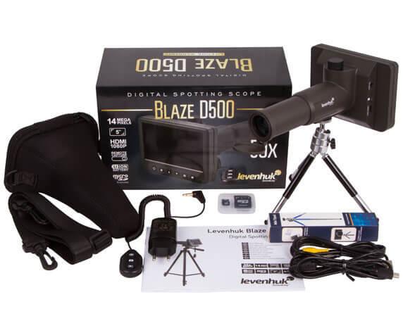 Комплект поставки цифровой трубы Levenhuk Blaze D500: шнуры, чехол, труба, инструкция