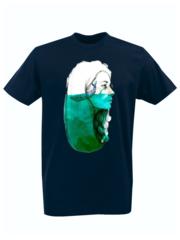 Футболка с принтом Кит (Море, Океан, волны) темно-синяя 004