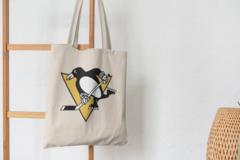 Сумка-шоппер с принтом НХЛ Питтсбург Пингвинз (NHL Pittsburgh Penguins) бежевая 006