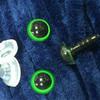 Глаз винтовой для игрушки 10 мм, (зелено-черный) пластиковый с заглушкой (2 шт)