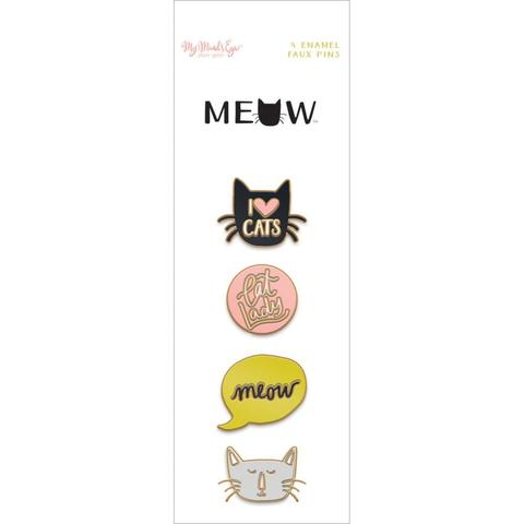 Набор металлических украшений Meow Enamel Painted Pins -4шт