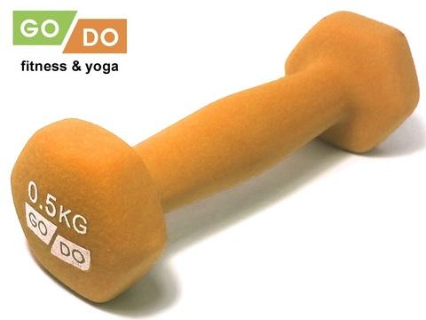 Гантель GO DO в виниловой матовой неопреновой оболочке. Вес 0,5 кг.  (Оранжевый)