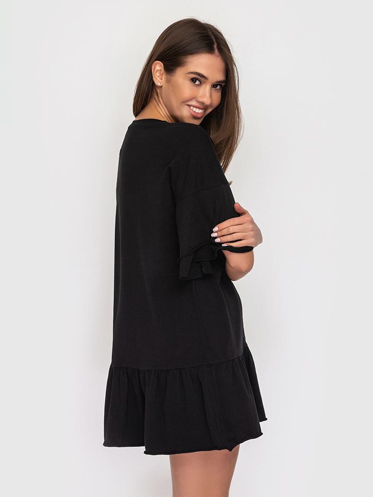 Платье-футболка хлопковое черное с воланами