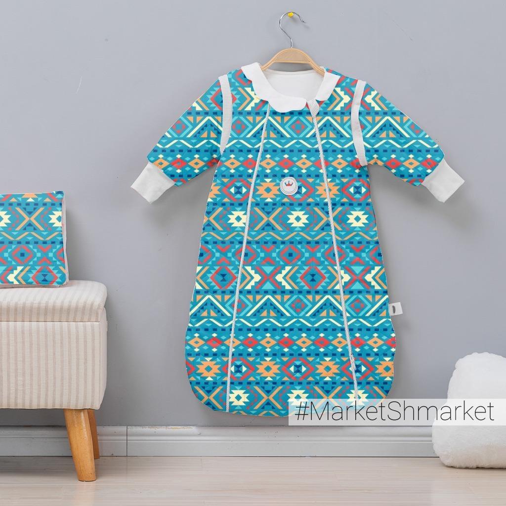 Мексиканский геометрический орнамент на синем фоне. (Дизайнер Irina Skaska)