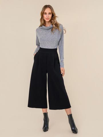 Женские свободные брюки черного цвета из шерсти - фото 2