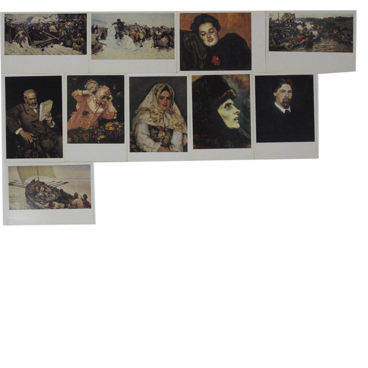 """Набор открыток (10 штук) """"Изобразительное искусство"""", Москва 1988г. VF"""