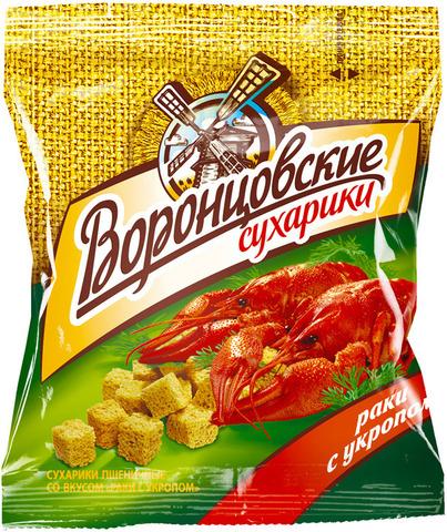 """Сухарики """"Воронцовские"""" раки с укропом 40г"""