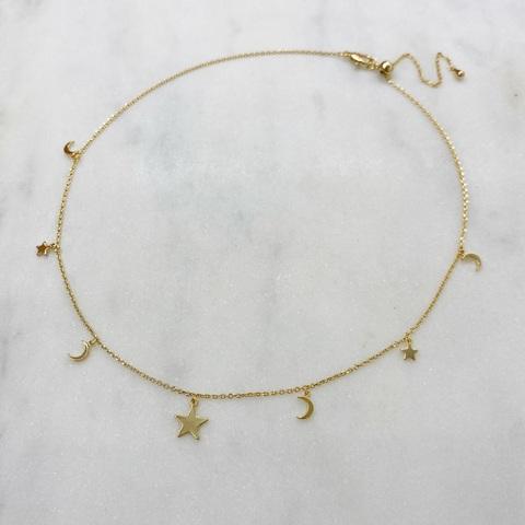 Чокер-цепочка с подвесками месяцами и звездочками (золотистый)