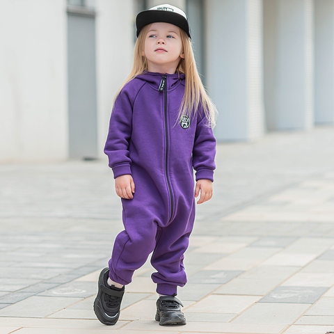 Warm hooded jumpsuit with flap - Ultraviolet