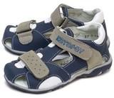 Детские сандалии Котофей 422050-21 из натуральной кожи, для мальчика, синий-серый-белый. Изображение 2 из 5.
