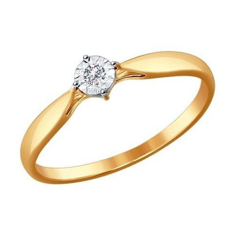 1011492 - Помолвочное кольцо из комбинированного золота с бриллиантом