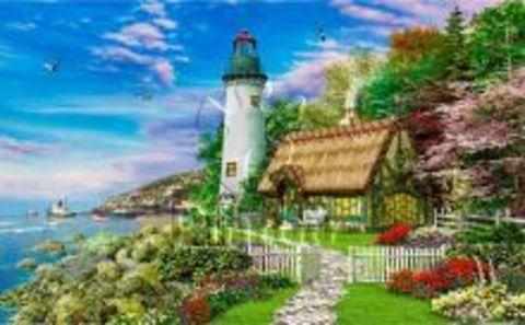 Картина раскраска по номерам 50x65 Дом с маяком на берегу