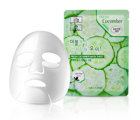 3W CLINIC Fresh Cucumber Mask маска для лица с экстрактом огурца