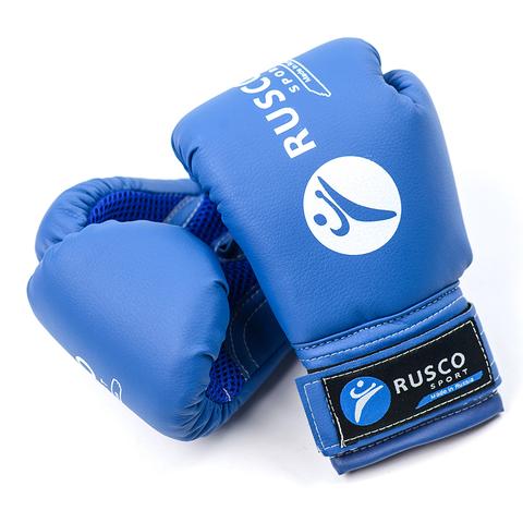 Перчатки боксерские Rusco, 10oz, к/з, синий/Сфит (263)