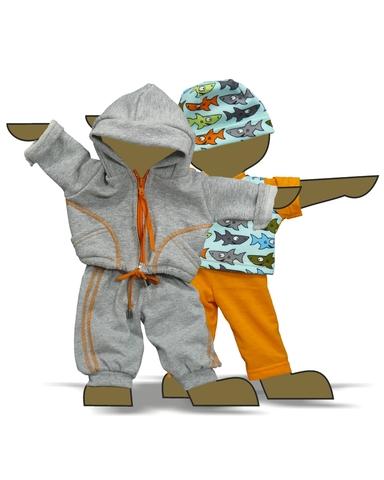 Большой трикотажный комплект (акулы) - Демонстрационный образец. Одежда для кукол, пупсов и мягких игрушек.