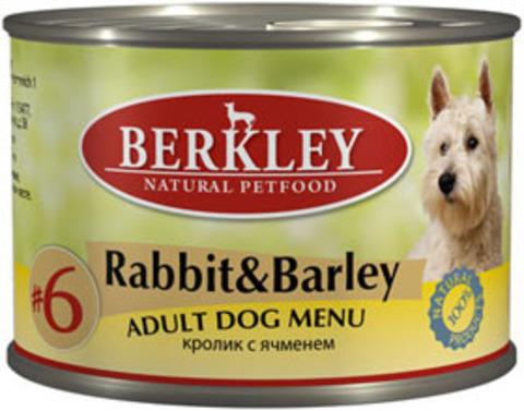 Консервы Berkley №6 Кролик с ячменем для собак
