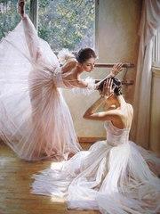 Картина раскраска по номерам 30x40 Балерины на тренировке