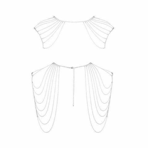 Bijoux Indiscrets Magnifique Metallic chain shoulders & back jewelry серебряная