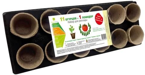 Набор для рассады с торфяными горшками 11 огурцов и 1 помидор