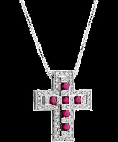 12103 - Двойной крест из серебра с рубиновыми цирконами  DOMIANI