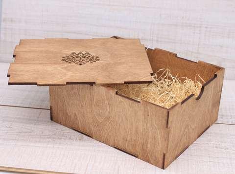 Коробка фанерная с гравировкой, симпл, 19*24*10 см