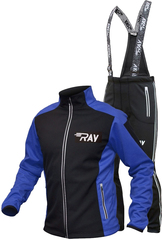 Утеплённый лыжный костюм Ray Race Tour Black-Blue мужской с лямками и отстегивающийся спиной