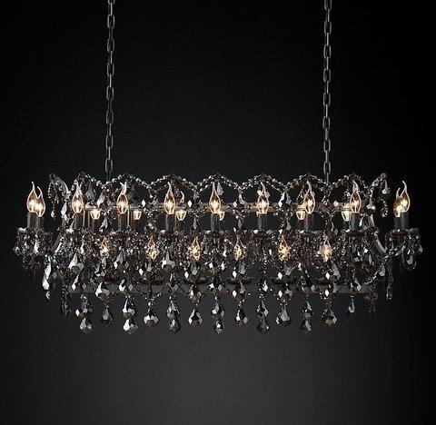 Подвесной светильник копия 19th C. Rococo Iron & Smoke Crystal Rectangular Chandelier 52