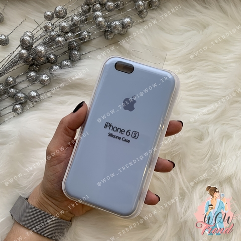 Чехол iPhone 6/6s Silicone Case /lilac cream/ голубой 1:1