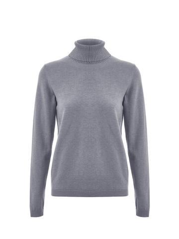 Женская водолазка серого цвета из шерсти и шелка - фото 1
