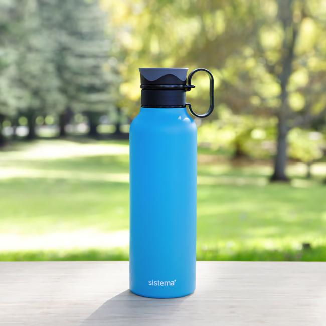 "Термобутылка Sistema ""Hydrate"" с петелькой 600 мл, цвет Голубой"