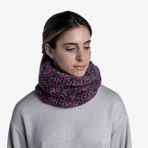 Вязаный шарф-труба с флисом Buff Neckwarmer Knitted Polar Margo Purple фото 2