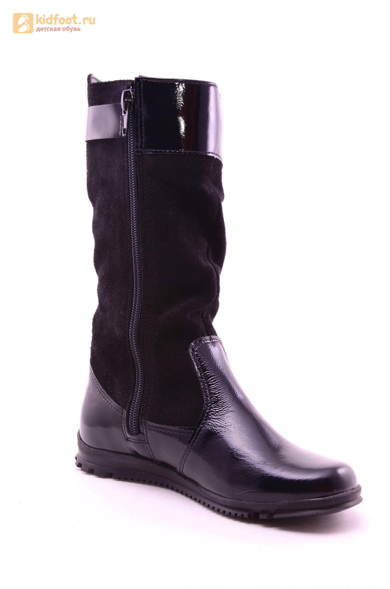 Сапоги для девочек из натуральной кожи и велюра на байковой подкладке Лель (LEL), цвет черный