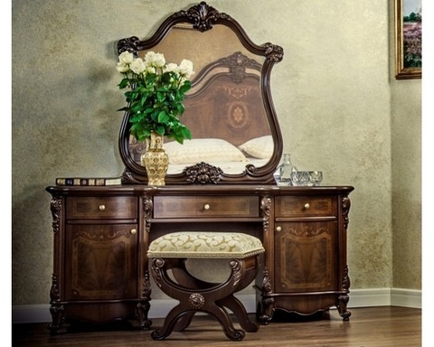 Стол туалетный  ИЛОНА с пуфом и зеркалом караваджо