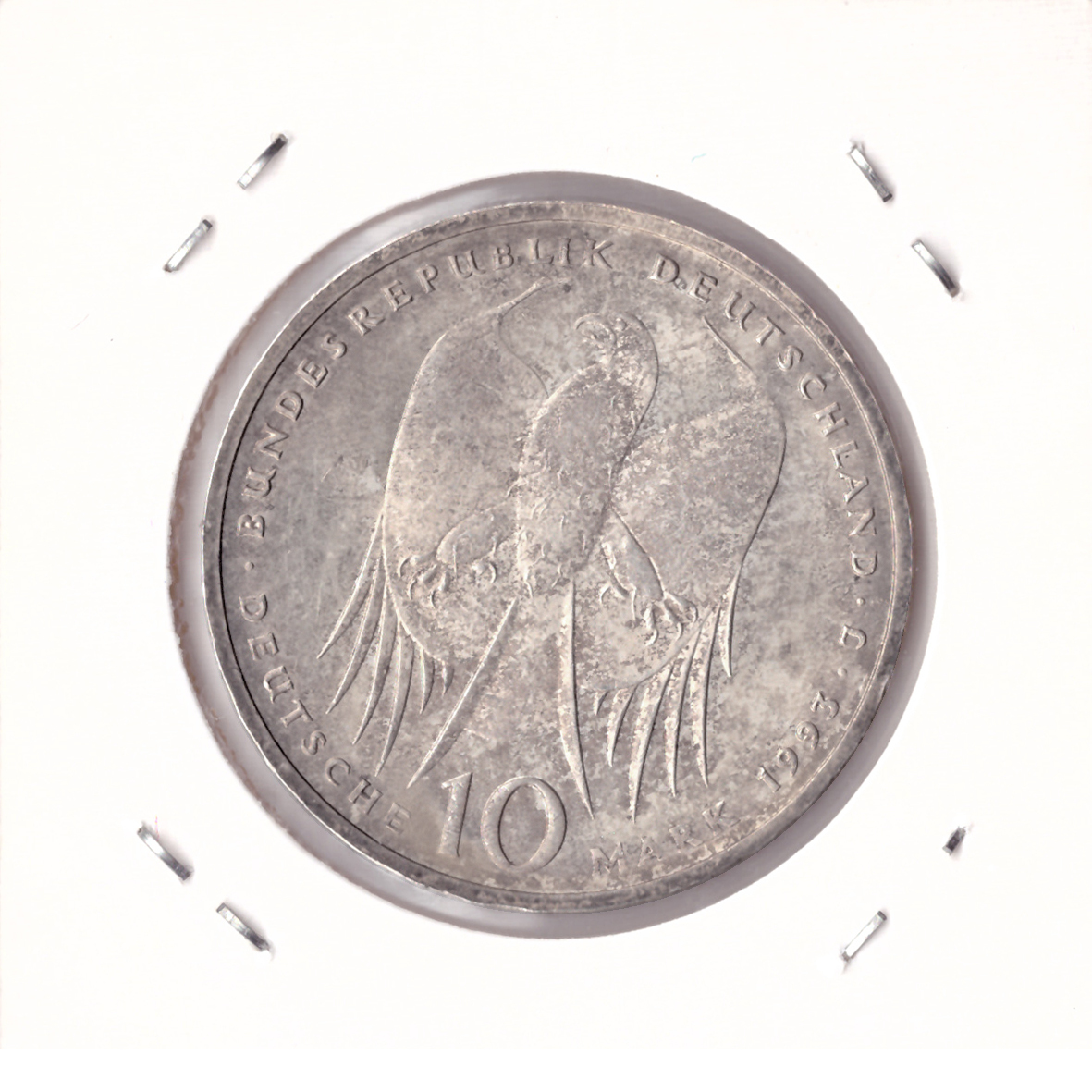 10 марок 1993 год (J) 150 лет со дня рождения Роберта Коха, Германия. XF-AU