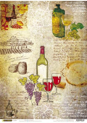 Рисовая бумага для декупажа Карта вин, А3