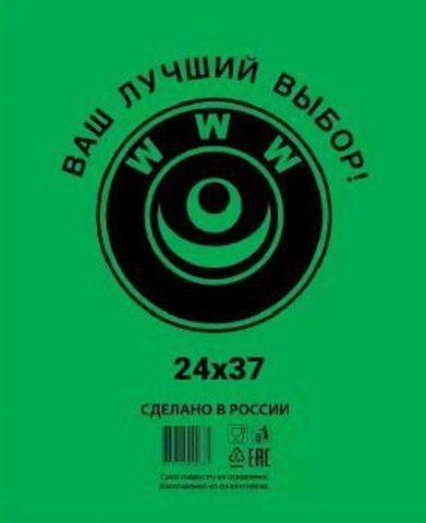 Пакет фасовочный, ПНД 24х37 (8) в пластах WWW зеленая (арт 80050)