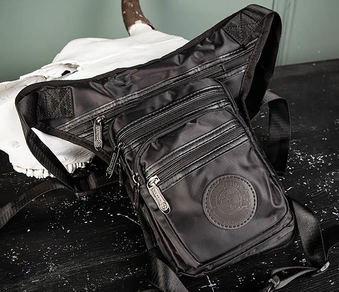 BAG505-1 Большая сумка на бедро из ткани «Оксфорд» черного цвета
